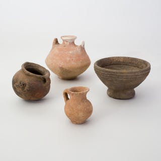 Group of Four Rustic Pottery Vessels