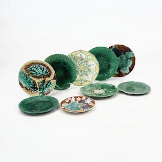 Eight Pairs of Majolica Plates