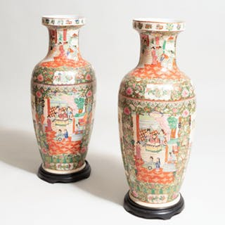 Pair of Large Chinese Export Style Vases, of Recent Manufacture