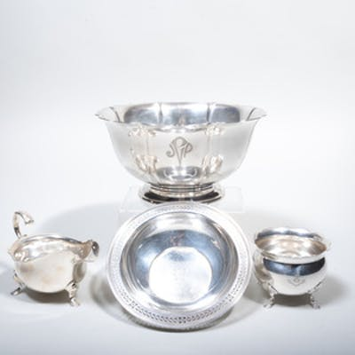 Three American Silver Serving Pieces and an Edward VII Sugar Bowl
