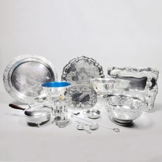 Group of Silver Plate Serving and Flatware Articles