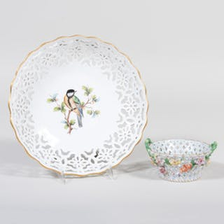 Meissen Porcelain Reticulated Bird Dish and a Dresden Basket
