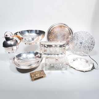Group of Silver Plate Serving Pieces and a Brass Match Safe