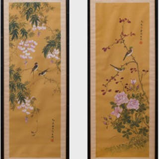 Chinese School: Birds on Branches, Two Scroll Paintings