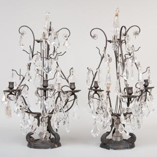 Pair of Louis XVI Silvered-Metal and Cut-Glass Three-Light Girandole