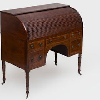 Regency Inlaid Mahogany Roll Top Desk