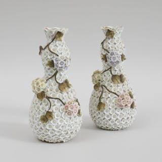 Pair of Meissen Porcelain Schneeballen Pear Form Vases