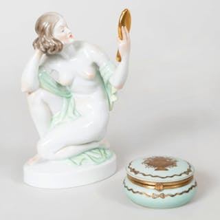 Herend Porcelain Figure of Woman with Limoges Porcelain Box and Cover