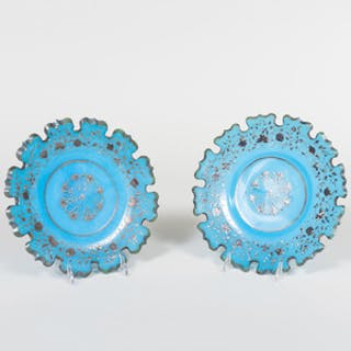 Pair of Continental Blue Glass and Gilt Highlighted Plates