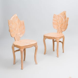 Pair of Pickled Wood Leaf Form Side Chairs