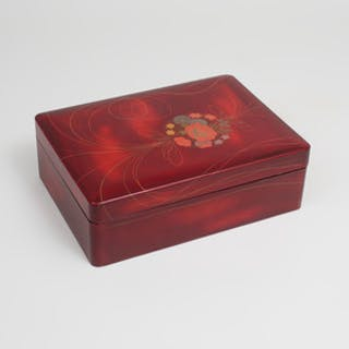 Japanese Parcel-Gilt Burgundy Lacquer Box