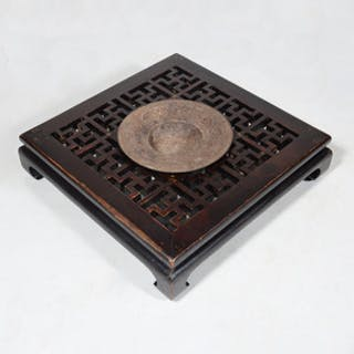 Chinese Iron and Carved Hardwood Braizer