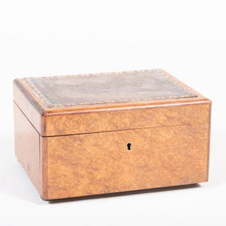 Continental Burl Humidor Mounted with an Engraving Plate