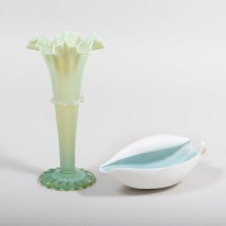 Vasaline Glass Vase and a Nymphenburg Porcelain Dish