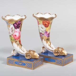 Pair of Paris Porcelain Ryhton Form Vases