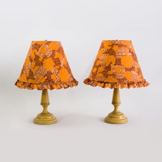 Pair of Yellow Ground Tôle Peinte Lamps with Fabric Shades