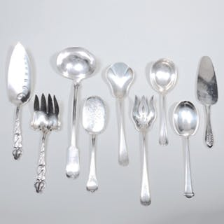 Group of Eight American Silver Serving Utensils