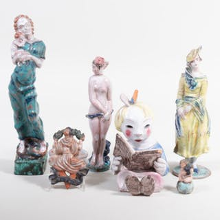Group of Austrian Glazed Pottery Figures