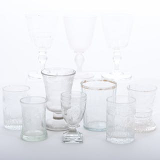 Group of Nine Etched Glasses