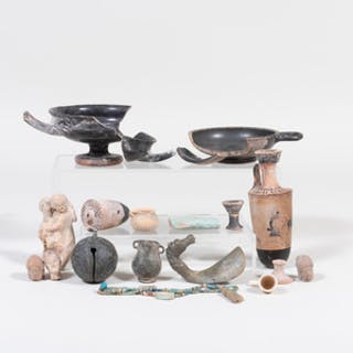 Group of Pottery Shards and Metalwork, Some Possibly from Antiquity