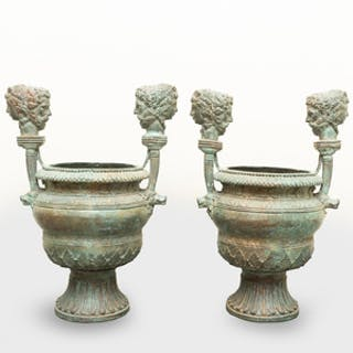 Pair of Roman Style Bronze Urns After the Antique