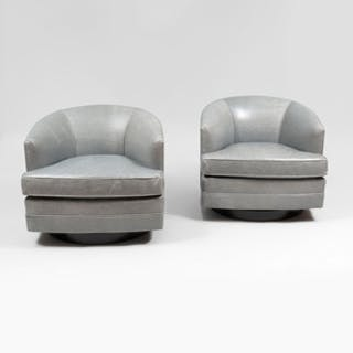 Leather Swivel Lounge Chairs, of Recent Manufacture