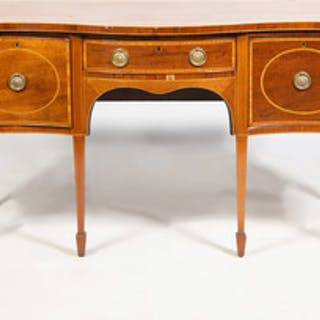 George III Inlaid Mahogany Serpentine Fronted Sideboard