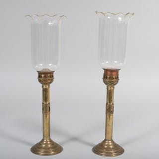 Pair of Continental Brass Telescoping Glass Photophores