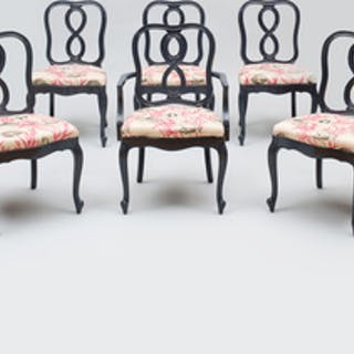 Set of Six French Style Lacquered Dining Chairs, of Recent Manufacture