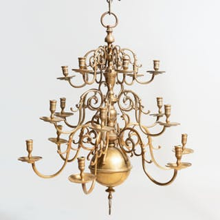 Dutch Brass Eighteen-Light Chandelier