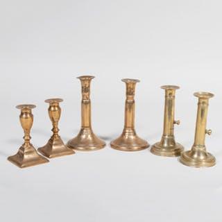 Three Pairs of Continental Brass Candlesticks