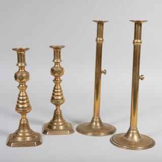 Pair of English Brass Candlesticks and a Pair of Continental Brass