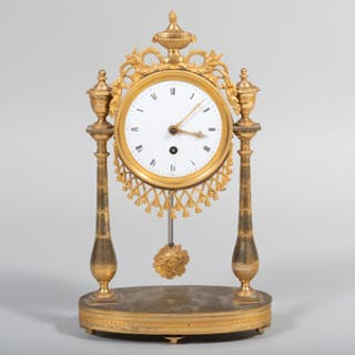 Louis XVI Style Gilt-Bronze-Mounted Portico Clock