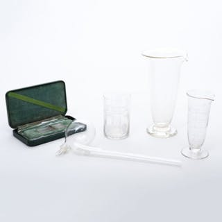 Group of Glass Lab Beakers and Instruments