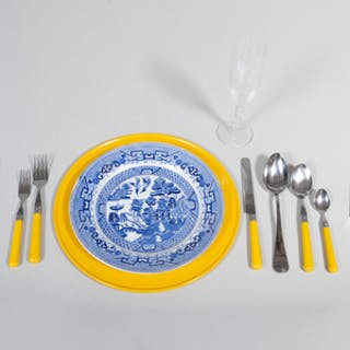Group of Blue and White Ceramics in the 'Blue Willow' Pattern and