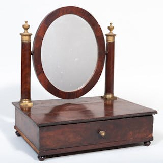 Regency Style Gilt-Metal-Mouted Shaving Mirror
