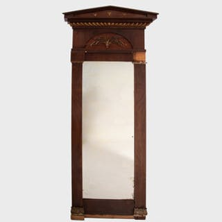 Danish Neoclassical Mahogany and Parcel-Gilt Pier Mirror