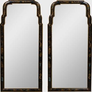Pair of Queen Anne Style Black Lacquer Mirrors