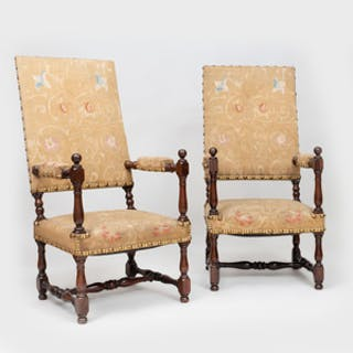 Pair of Napoleon III Mahogany Tall Back Armchairs
