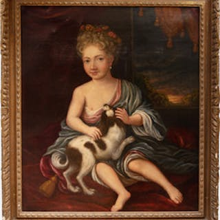 European School: A Young Maiden and Her Dog