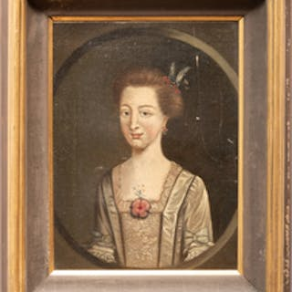 European School: Portrait of a Lady with a Flower Brooch