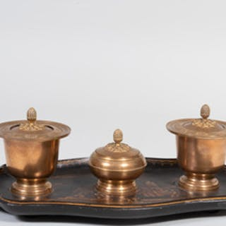 English Gilt-Bronze-Mounted Lacquer Inkwell