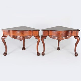 Pair of Small Colonial Style Mahogany Corner Tables