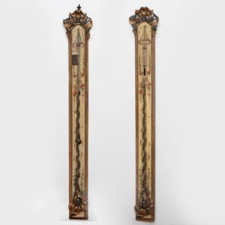 Pair of Napoleon III Painted and Parcel-Gilt Barometers