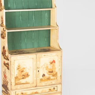 George III Cream Lacquer and Parcel-Gilt Dwarf Bookcase