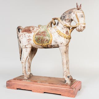 Painted Folk Art Figure of a Horse, Possibly Asian