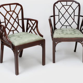 Near Pair of George III Mahogany 'Cockpen' Armchairs