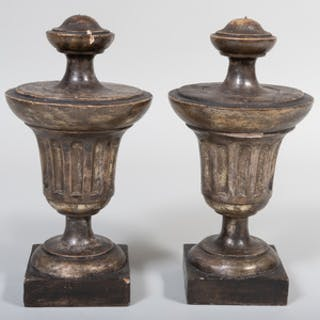 Pair of Grey Painted and Silver-Gilt Wood Finials