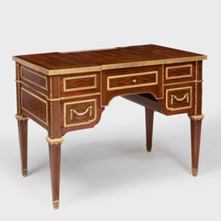 Louis XVI Style.Gilt-Bronze-Mounted Parquetry and Marquetry Dressing Table