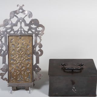 Continental Pierced Steel and Brass Lock Mechanism and a Lacquered Metal Box